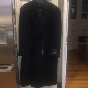 NWT Men's Black Lazetti Wool Blend Trench Coat 46L